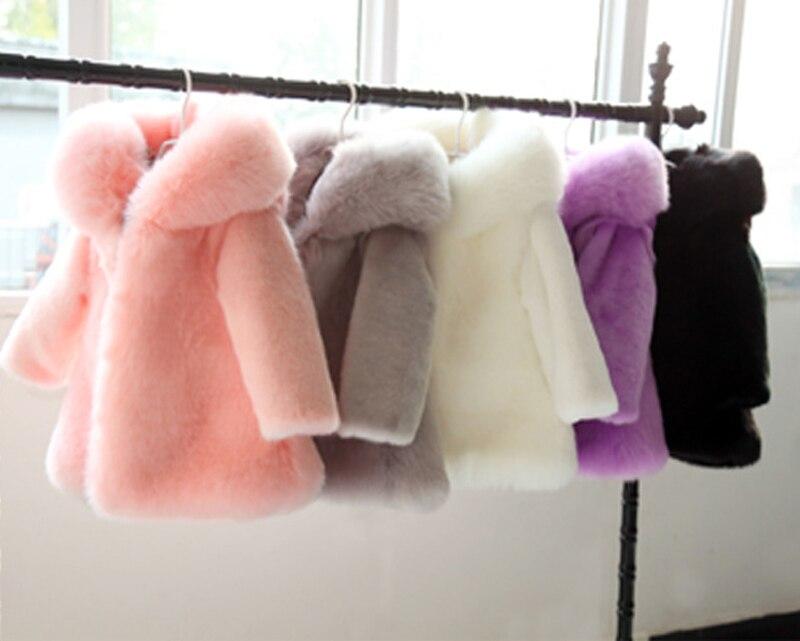 2 10Y Winter kids faux fur Hood coats Jacket long sleeve Warm Christmas birthday Girl fur
