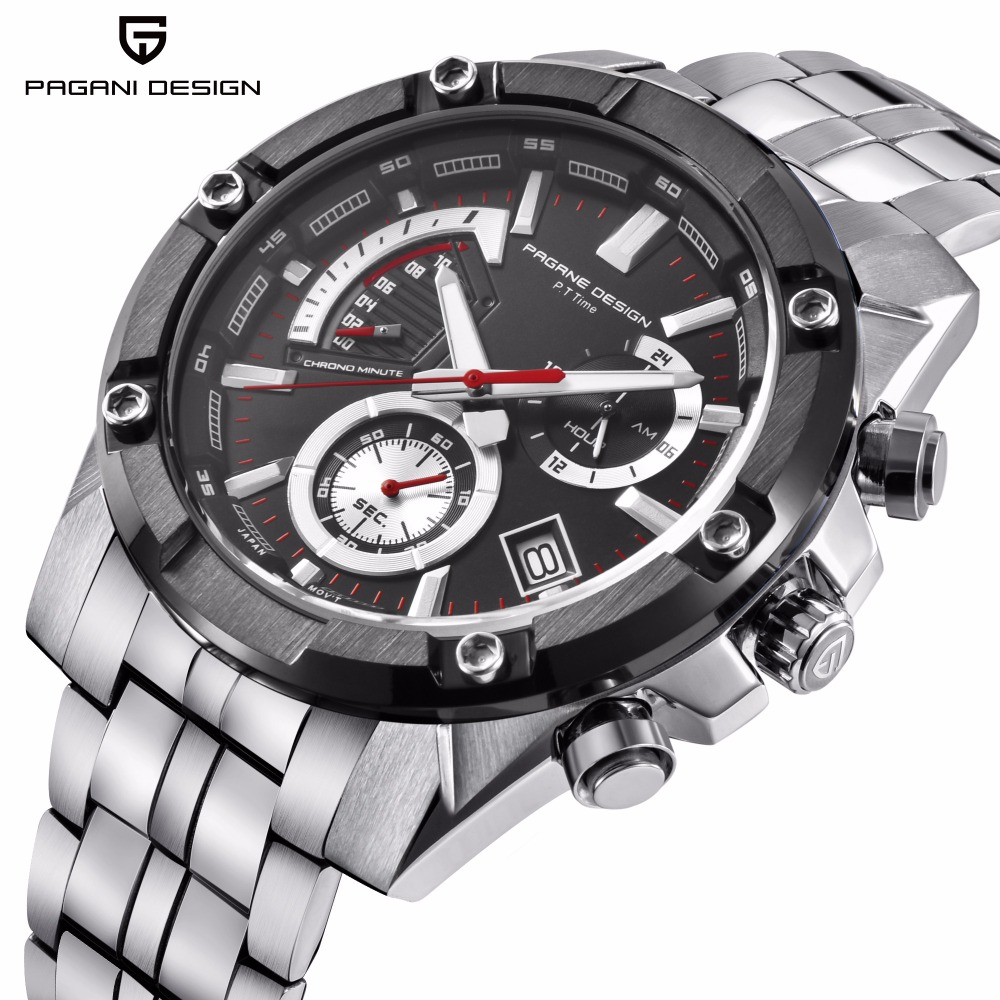PAGANI DESIGN Chronograph Quartz Watch Men Stainless Steel Waterproof Business Wristwatches Mens Sport Watches reloj hombre 2018PAGANI DESIGN Chronograph Quartz Watch Men Stainless Steel Waterproof Business Wristwatches Mens Sport Watches reloj hombre 2018