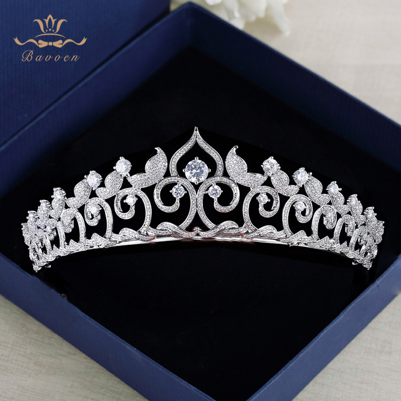 High end Sparkling Zircon Brides Tiaras Crowns Pearls Bridal Headpieces Crystal Wedding Hair Accessories Evening Hair Jewelry