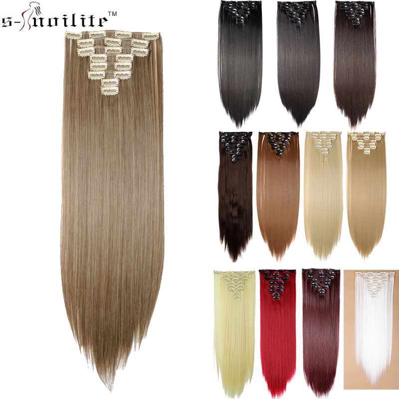 SNOILITE Hairpiece 23inch 180g Straight 18 Clips in Hair Styling 100% Real Synthetic Hair Extensions 8pcs/set Cosplay Extension