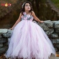 الوردي و الرمادي زهرة فتاة توتو اللباس الأطفال تول اللباس صغار حفلة الزفاف صورة خمر اللباس اليدوية اللباس