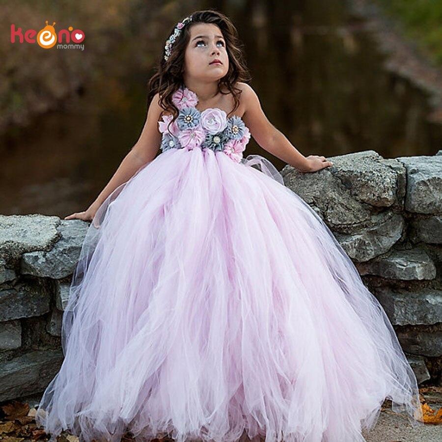 Rosa und Grau Blume Mädchen Tutu Kleid Vintage Hochzeit Kinder Tüll Kleid Junior Geburtstag Party Foto Kleid Handgemachte Kleid