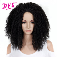 Deyngs長いアフロ変態カーリー合成レースフロントかつら黒人女性ロングブラック/レッド/ブラウン色レース髪かつらフル髪型