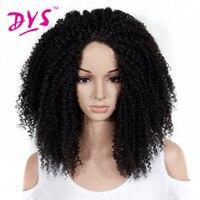 Deyngs Largo Afro Rizado Rizado Pelucas Delanteras Del Cordón Sintético Para Las Mujeres Negras de Largo Negro/Rojo/Marrón Colores de Encaje Peinado de la Peluca Llena del pelo