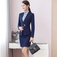 Spring Fall Formal Uniform Designs Professional Women Business Suits With 3 Piece Jackets And Skirt And Blouse Work Wear Sets