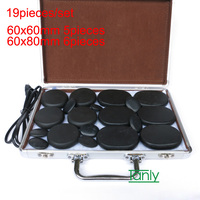 19pcs Set Massage Stones Massage Lava Natural Energy Massage Stone Set Hot Spa Rock Basalt Stone