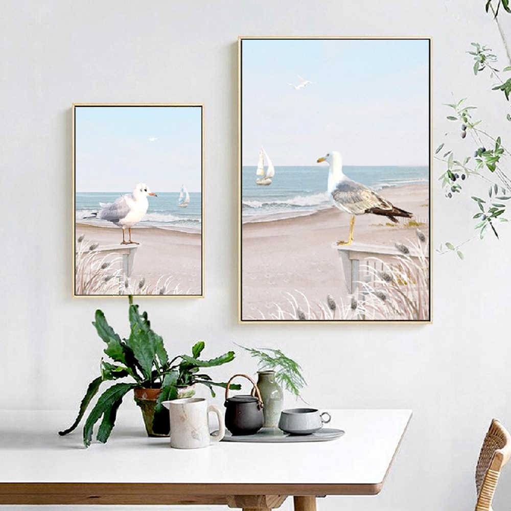 Nordic Posters And Prints Beach Scenery Seagull Sailboat Canvas Painting Room Decor Blue Ocean Poster Abstract Art Wall Picture
