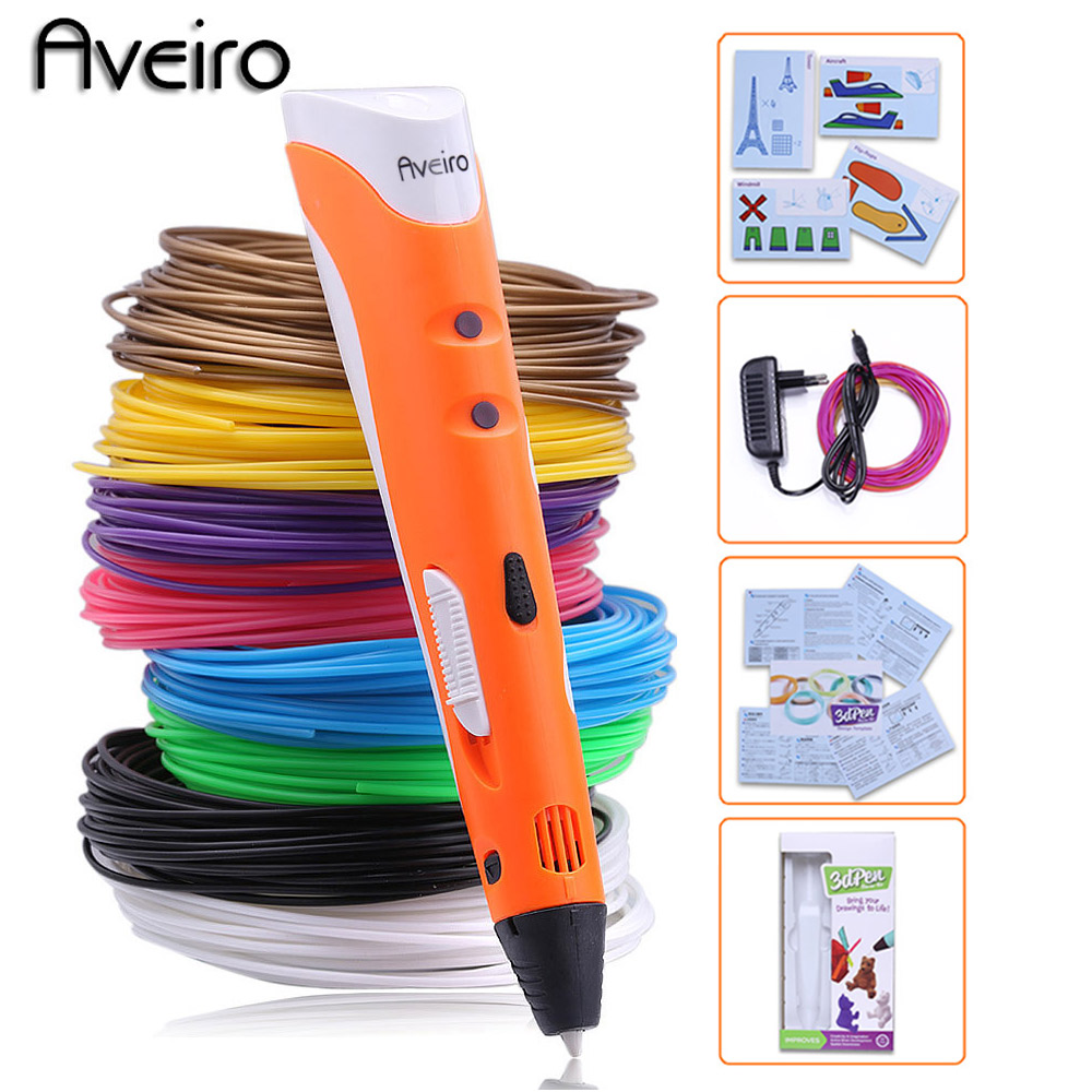 Original pen-3d model 3d drawing printing magic pen abs 1.75mm filament smart 3 d printer pens for child birthday gift graffiti new arrival 3d printing pen with 100m 10 color or 200 meter 20 color plastic pla filaments 3 d printer drawing pens for kid gift