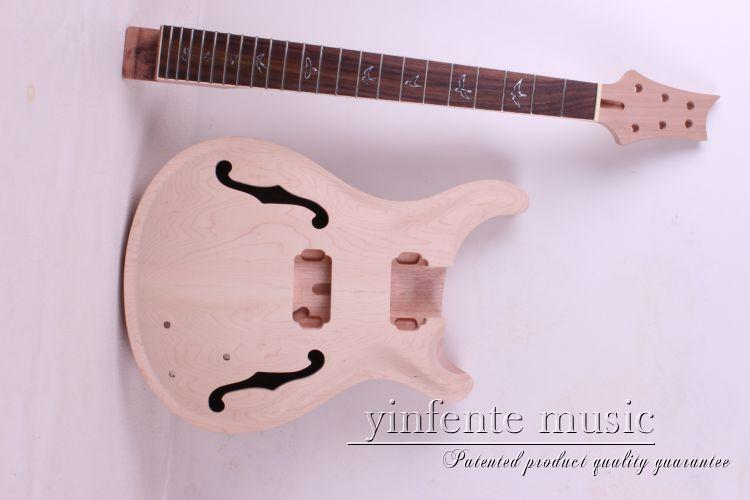 one set electric guitar neck and body high quality mahogany made with rosewood fingerboard high quality custom shop lp jazz hollow body electric guitar vibrato system rosewood fingerboard mahogany body guitar