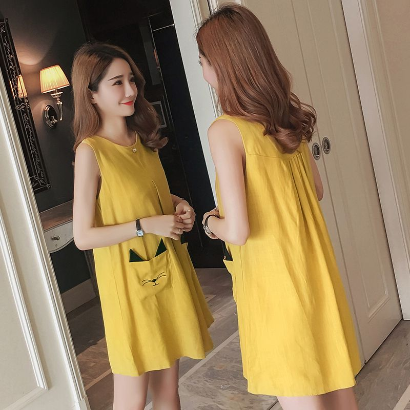 2018 New Maternity Clothes Summer Dress Cotton-embroidered Sleeveless Maternity Dress