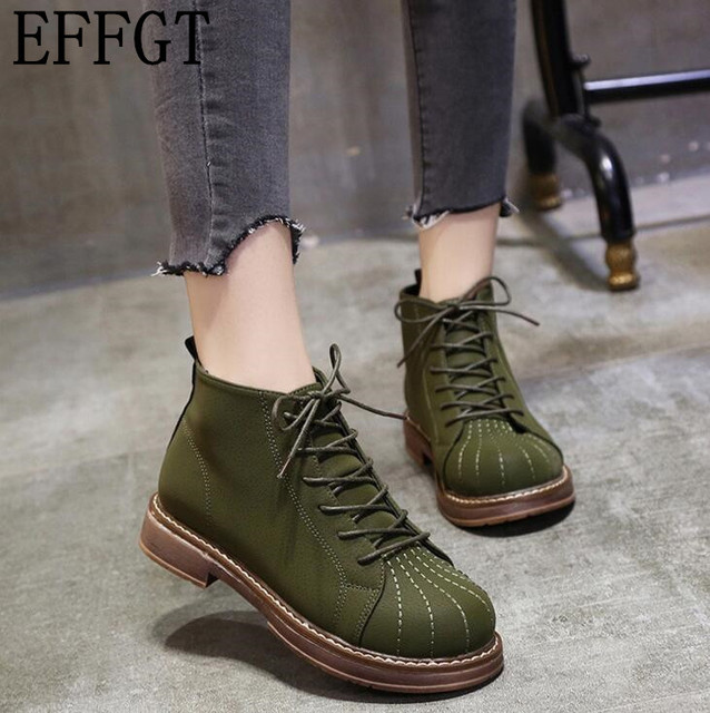 EFFGT 2017 new fashion Popular Sexy Street Girls Short Boot Lace up Round Toe flats ankle Boots Women Punk Martin boots H79
