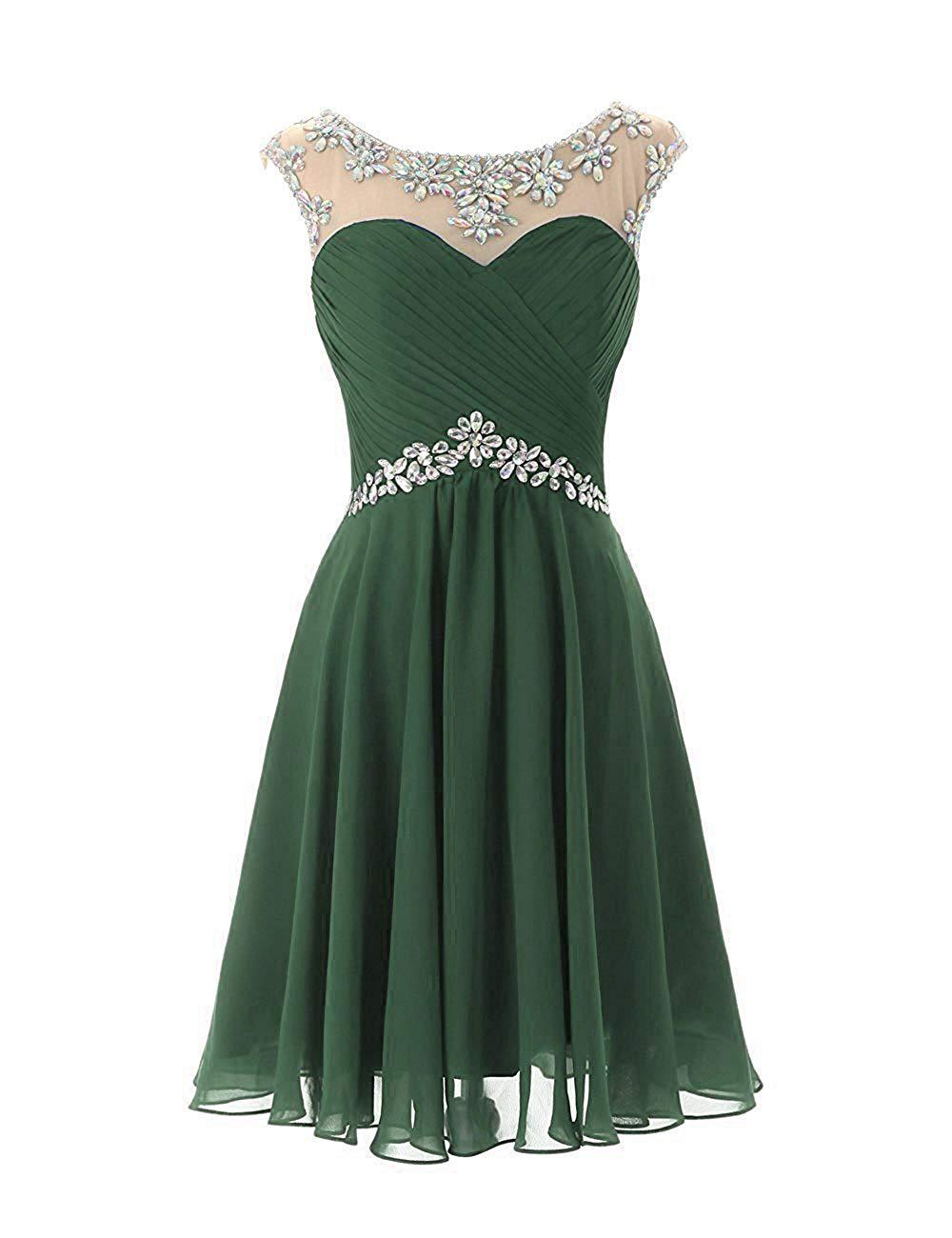Fashion New Style 2019 Jewel Collar Cap Sleeves Delicate Beaded Green Tulle A Line Short   Cocktail     Dresses   Vestido de   cocktail