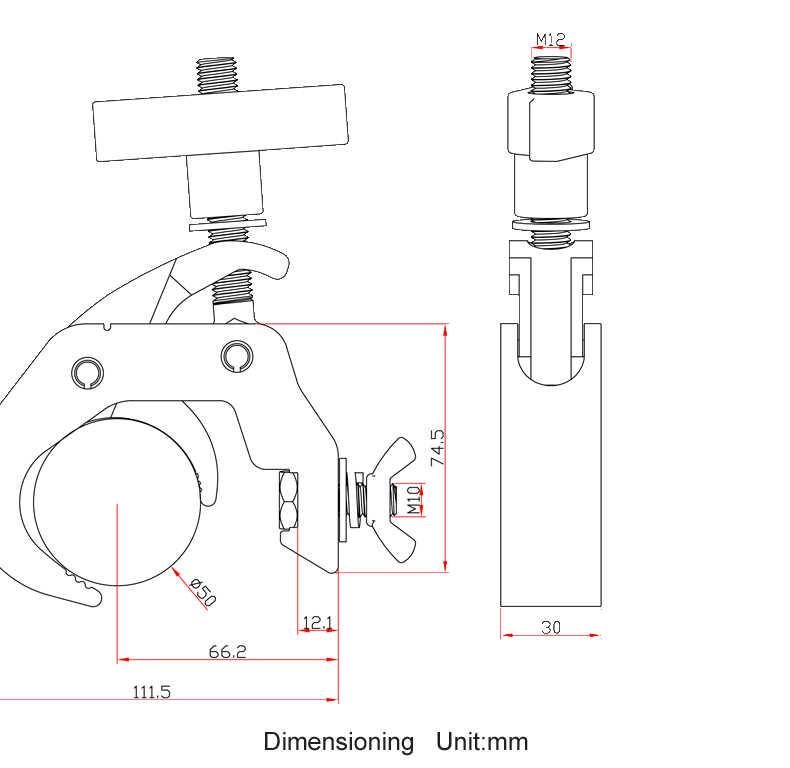 مشبك SWL 250 KG الثقيلة شعاع ضوء المشبك الأسود SHOWTEC 50 MM سريعة المقرنة ل تتحرك رئيس ضوء TRUSSING تقف