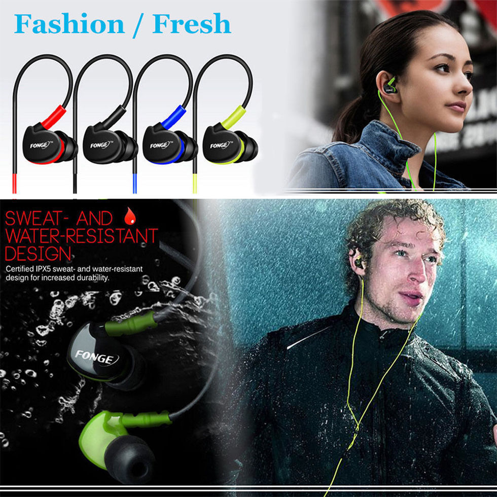 Fonge S500 Stereo Waterproof  Earphones HIFI Sport Headphones Bass Headset With Mic For Xiaomi Galaxy S6 Smartphones