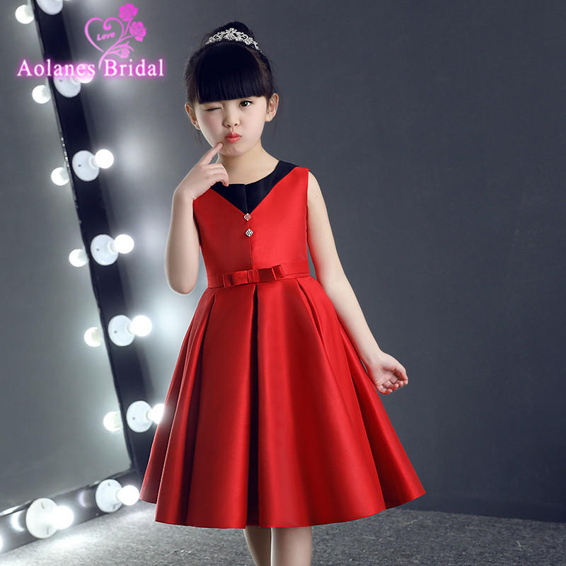 2017 New   Flower     Girl     Dresses   Red Black Real Party Pageant First Communion   Dress   for Wedding