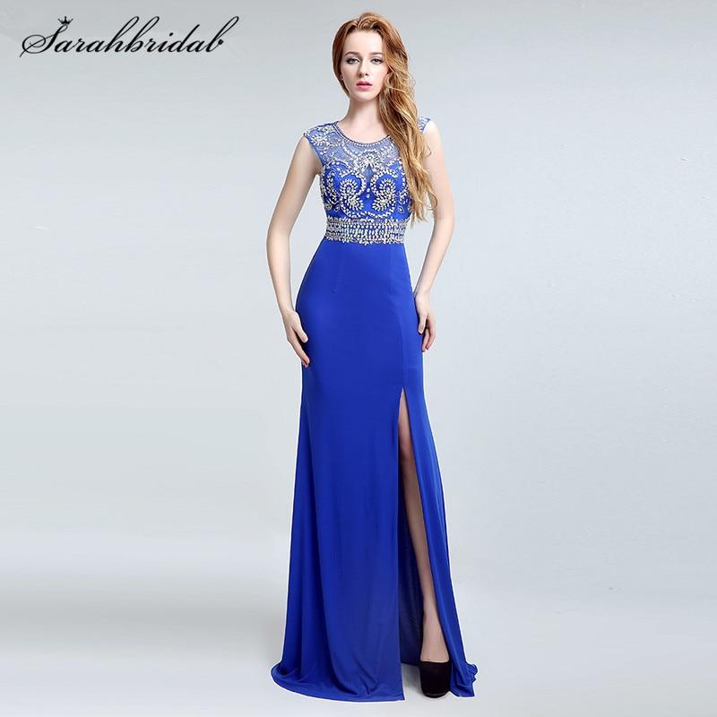 Sexy Side Split Sheer Mermaid   Prom     Dresses   Real Photo Royal Blue Crystal Long Formal   Dress   Party Vestidos De Noche LSX146