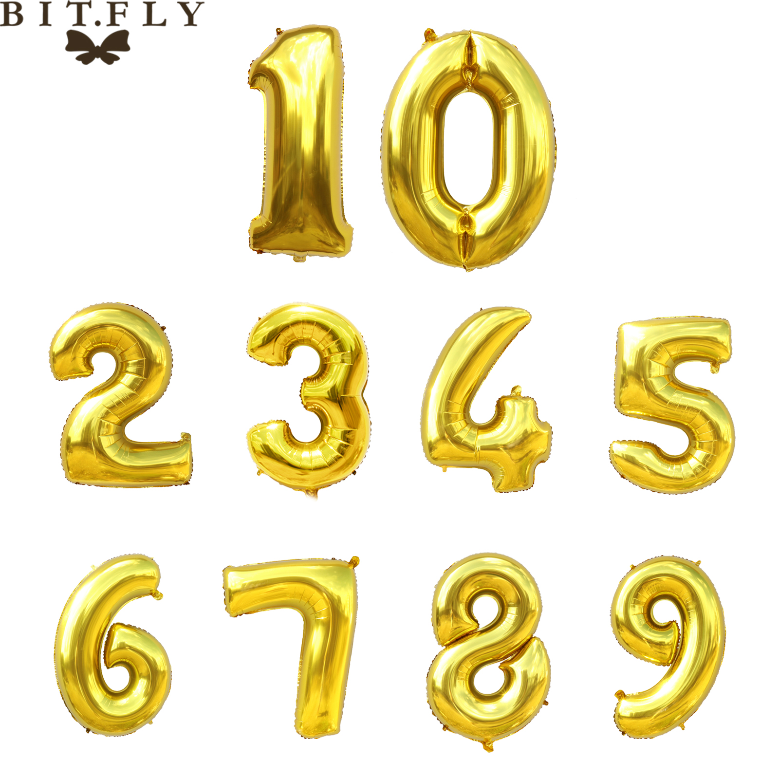 32 inch Gold color Party DIY decoration 0 9 number ...