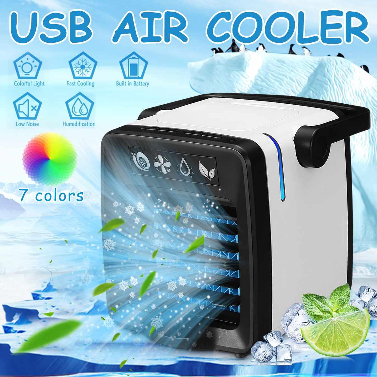 3 Velocidades Ajustable para Hogar Oficina Nuevo Mini Enfriador Port/átil USB Aire Acondicionado 3 en 1 Ventilador Purificador Humidificador 7 Colores D.R