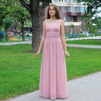 2019 burgundy Pink Formal Evening Dress Long Women Elegant Burgundy Double V Neck Chiffon Empire Prom Party Gown Robe De Soiree - DISCOUNT ITEM  48% OFF Weddings & Events