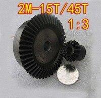 2M 15T/45T 1:3 Umbrella gear steel 45 surface hardening bevel gear Dimaeter:32mm/92mm