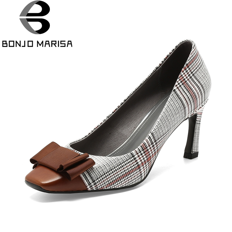 BONJOMARISA 2018 New Genuine Leather Thin High Heels Large Size 33-40 Women Shoes Woman Bowtie Slip On Pumps Woman Shoes bonjomarisa brand new genuine leather square high heels solid metal decoration bowtie shoes woman casual summer pumps