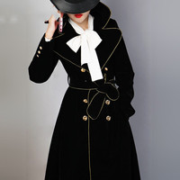 High end Double breasted Trench Coat Long section 2019 New Chic black Coat Women's Spring Autumn Gold Velvet Coats X503