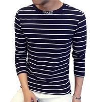 New Design SpecIal High Collar Men S T Shirt Fashion Trend Long Sleeve Casual Striped T