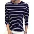 Novo Design Especial Gola Alta T Shirt Dos Homens da Tendência Da Moda Longo manga T Camisas Listradas Casuais Carta Impressão Tshirt Dos Homens 4XL 5XL