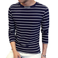 Nuevo Diseño Especial de Cuello Alto Camiseta de Los Hombres de Tendencia de La Moda de Largo Rayas Casual de Las Camisetas de manga Hombres Impresión de la Letra Camiseta 4XL 5XL