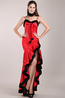 Hi Lo Christams Evening Gowns Sweetheart Red Satin with Black Fur Spaghetti Strap Gothic Evening Dresses