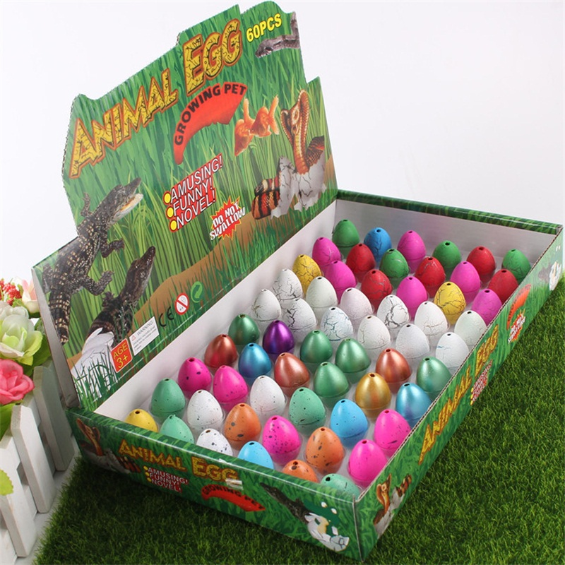60pcs Cute Magic Hatching Growing Dinosaur Eggs Multicolor Add Water Kids Toy Educational Toys for Children 60 in 1 Gifts Egg