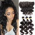 Cheap Lace Frontal With Hair Bundles Body Wave Brazilian Virgin Hair Bundle With Closure Human Hair Bundles With Frontal