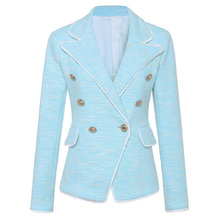 HIGH QUALITY New Fashion 2018 Designer Blazer Women's Tassel Fringe Metal Lion Buttons Double Breasted Tweed Blazer Jacket