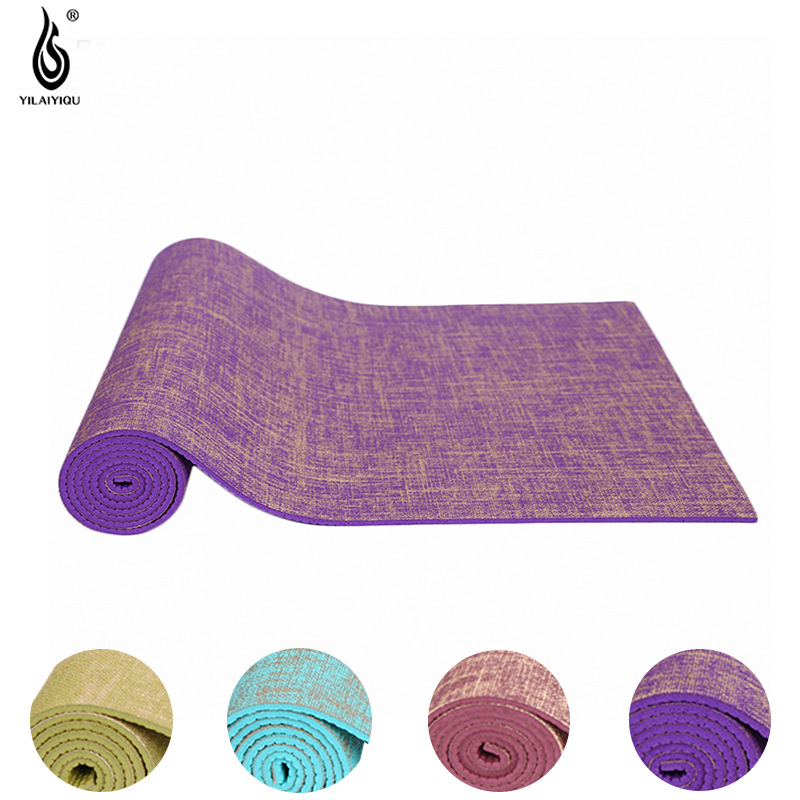 Gym Mats Non Toxic: 5mm Thick Yoga Mat PVC Natural Flax Non Toxic Fitness Anti