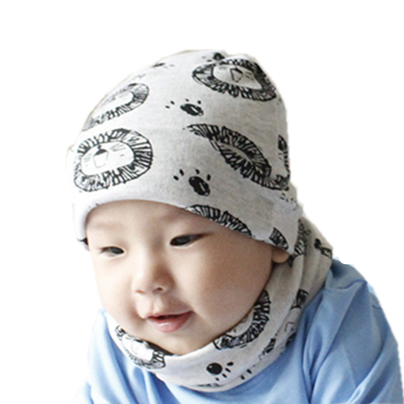new fashion children hat scarf set cotton baby o ring scarf cap kids neck collars head cover hat sets