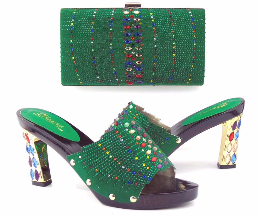 (TH16-40)2016 Italian Shoes With Matching Bags To Matching Royal Green,New Green African Shoes And Matching Bag Sets For Party