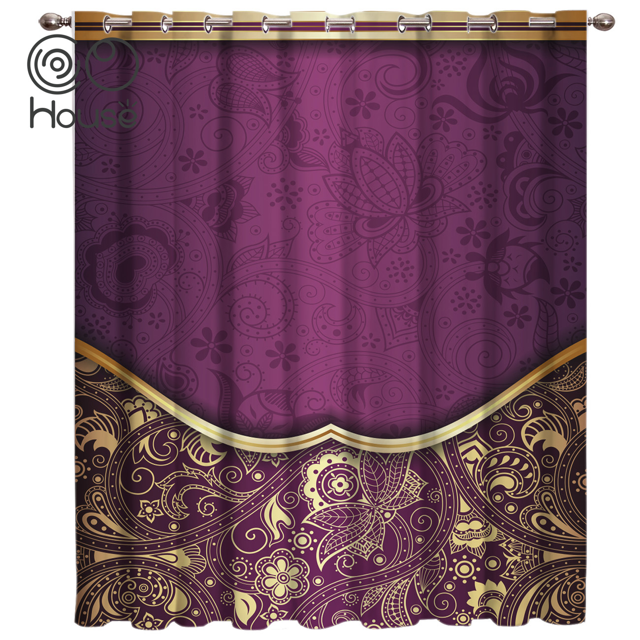 COCOHouse Abstract Golden Purple Flower Background Window Treatments Curtains Valance Room Curtains Large Window Window Curtains