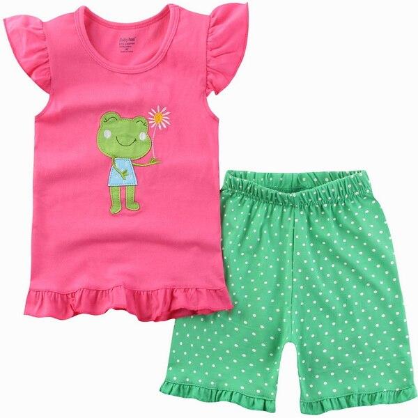Летняя детская одежда зеленого цвета в горошек одежда для маленьких  мальчиков и девочек костюм с короткими рукавами хлопковая пижама детская  ночная рубашка ... 34e6f3e8b6036