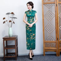 Green Rayon Long Chinese Style Lady Qipao Big Size 3XL 4XL 5XL 6XL Vestidos Female Cheongsam Evening Party Vintage Dress S 18