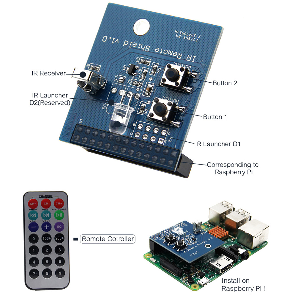 Raspberry Pi 3 B Ir Remote Infrared Expansion Board Control Transmitter Circuit Remotecontrolcircuit Controller Kit For Model 3b In Demo From Computer