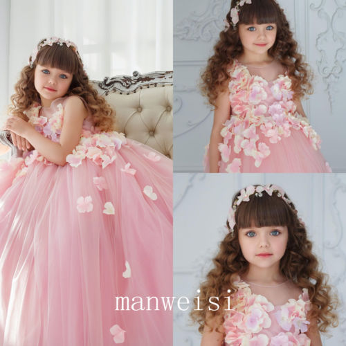 купить Kids Flower Girl Dresses Pink Tulle Princess Ball Gowns Bridesmaid Formal Party Girls Clothes дешево