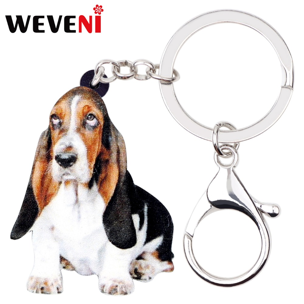 WEVENI Original Acrylic Basset Hound Dog Key Chains Keychains Bag Animal Jewelry For Women Girls Bag Car Purse Charms Gift