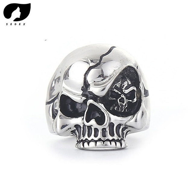 0889b6e428316a 2019 Wholesale Cheap Cool Hell Death Skull Ring Man Never Fade Punk Biker  Man's High Quality Punk Rock Ring