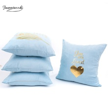 Fuwatacchi Suede Gold Stamping Cute Cartoon Pillowcase Cushion Covers Letter Blue Pillow Cover for Home Sofa Chair Decoration