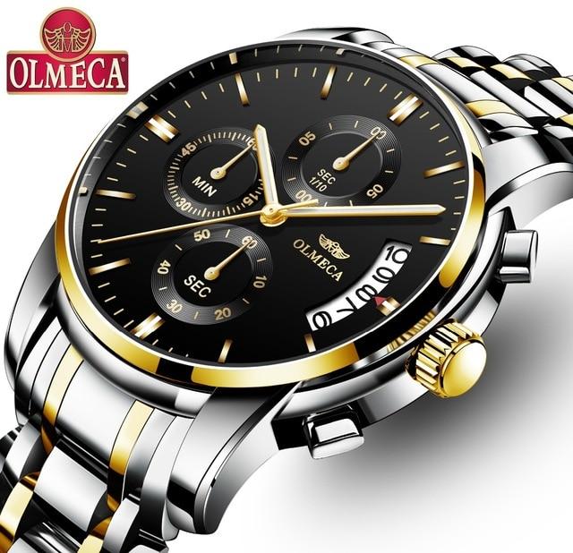 Top Brand Mens Quartz Watches Luxury OLMECA Clock 30m Waterproof Auto Date Calendar Men Wrist Watch Reloj Hombre Drop shipping