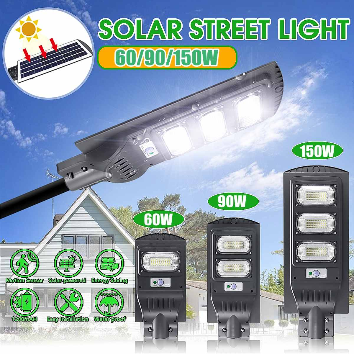 LED Street Light  60W 90W 150 LED Solar Street Wall Light Radars Induction Outdoor Timing Lamp + Remote