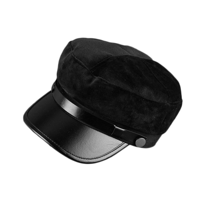 a8b3957f9e4 Unisex Military Hat Winter Velvet PU Warm Fashion Navy Style Caps For Men  Women New Fashionable Adjustable Flat Top Casquette