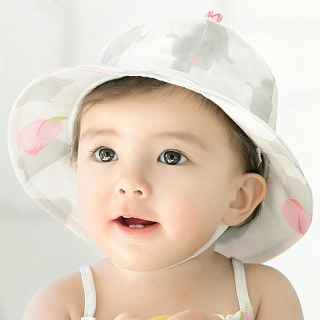 d6e40e0ed76 Baby Girl Hats Cotton Spring Cap Summer Bucket Hat Sweet Princess Printed Hats  Newborn Beanie Bonnet Enfant Kids Sun Hat