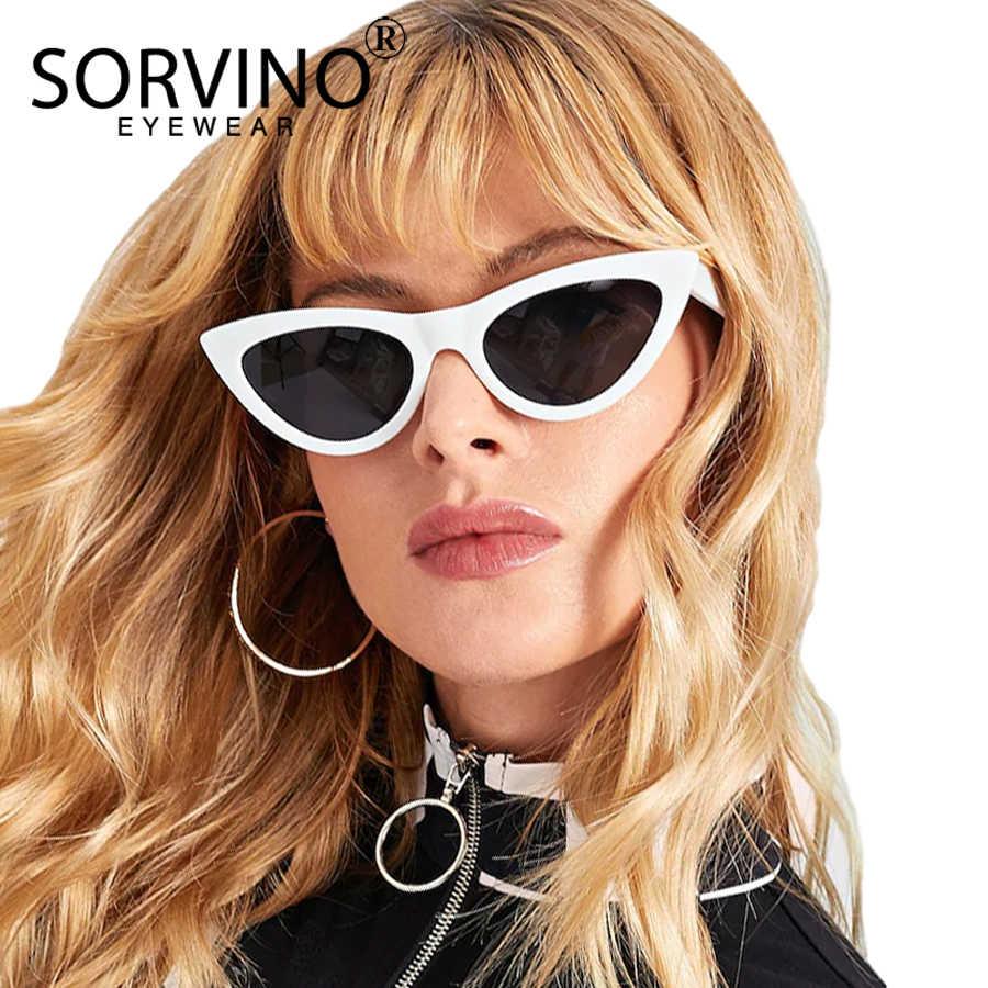 efb8b0d686 SORVINO Retro Red Cat Eye Sunglasses Women Designer 90s Festival Flat Top  Mirror Cateye Sun Glasses