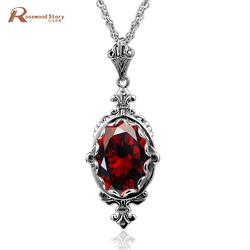 Trendy Statement Silver Pendant Necklace For Women Vintage Garnet Pendant Gemstone Solid 925 Sterling Silver Fashion Jewelry Hot